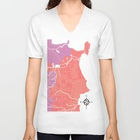 michigan V-neck T-shirts featuring Marquette, Michigan by Leigh DiFulvio