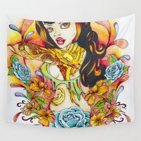 rockabilly Wall Tapestries featuring Rockabilly Art - Comic Art - Pop Surreal - Flight of the Phoenix - Fantasy Art  by EnchantedDesignStudio