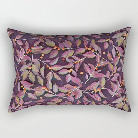 Leaves + Berries in Olive, Plum & Burnt Orange Rectangular Pillow