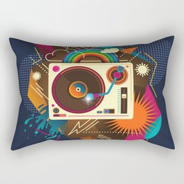 Goodtime Party Music Retro Rainbow Turntable Graphic Rectangular Pillow