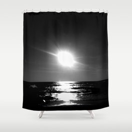 Oceanic dawn 1: black and white Shower Curtain
