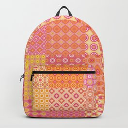 25 Designs Patchwork Tiles in Orange Pink and Yellow Backpack