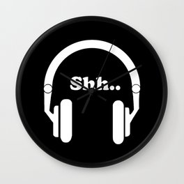 Headphones and music Wall Clock