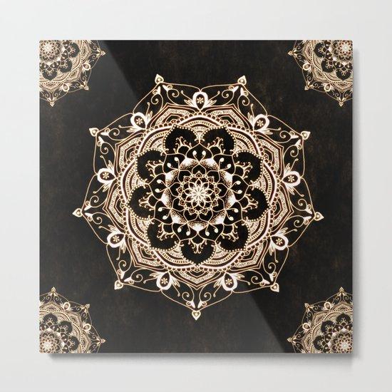 Glowing Spirit Black White Mandala Design Metal Print