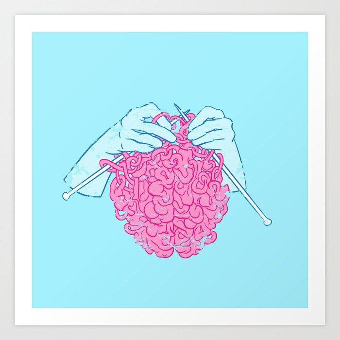 Knitting a brain Kunstdrucke