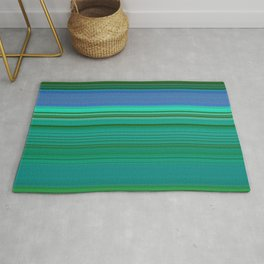 green and blue horizontal lines Rug