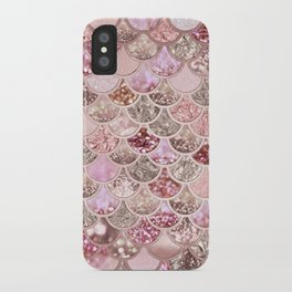 Rose Gold Blush Glitter Ombre Mermaid Scales Pattern iPhone Case