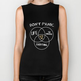 42 Answer to Life Universe and Everything T-Shirt Dont Panic Biker Tank