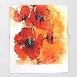 Red Poppy Flowers Watercolor Painting Throw Blanket