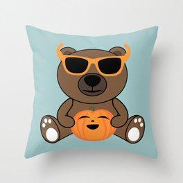 Cool Halloween bear holding pumpkin on Light Blue Throw Pillow