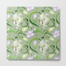 Tropical green seamless pattern with lily and freesia flowers Metal Print