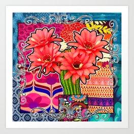 Pink Cactus Floral Vibes Art Print
