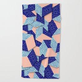 Colorful Aqua Geometric Pattern Beach Towel