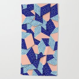 Colorful Aqua Geometric Pattern Beach Towel