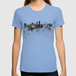 Jacksonville skyline in black watercolor T-shirt