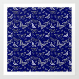 Blue Butterfly Pattern Art Print
