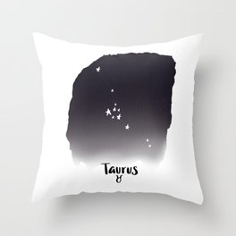 Taurus Star sign, Constellation, Astrology, Horoscope, Zodiac Grey Watercolor Throw Pillow