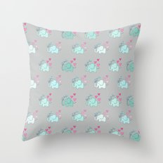 Elephant Love Walk Gray Throw Pillow