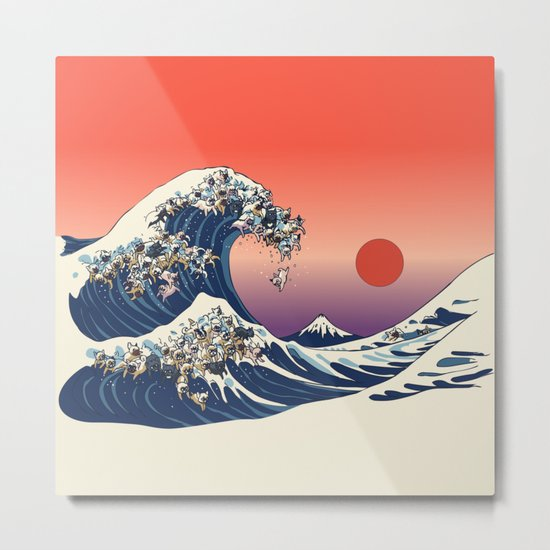 The Great Wave Of  French Bulldog Metal Print
