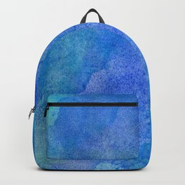 Hand painted abstract blue green watercolor brushstrokes Backpack
