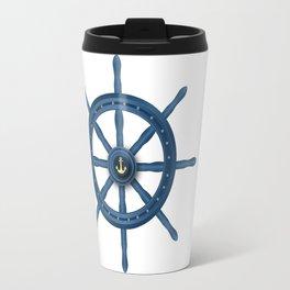 Ship Wheel Blue Rudder Travel Mug