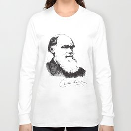 Charles Darwin Portrait Signature Evolution Atheist Science Atheist t-shirts Long Sleeve T-shirt