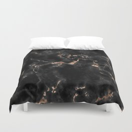 Rose Gold and Black Marble Duvet Cover