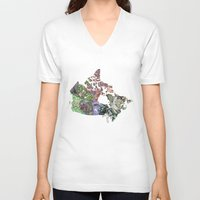canada V-neck T-shirts featuring Canada by minouette