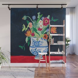 Bouquet of Flowers in Blue and White Urn on Navy Wall Mural