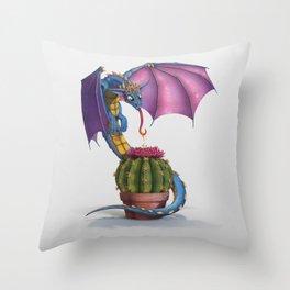 Cactus-flower Dragon Throw Pillow