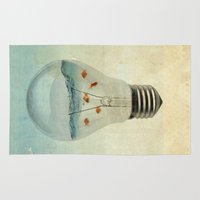 magritte Area & Throw Rugs featuring blue sea thinking by Vin Zzep