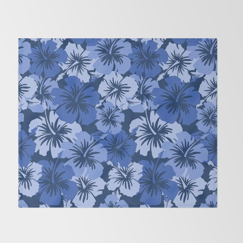 Epic Hibiscus Hawaiian Floral Aloha Shirt Print Throw Blanket By