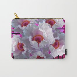 MODERN WHITE TREE PEONY FLOWERS  BURGUNDY-BLACK ART Carry-All Pouch