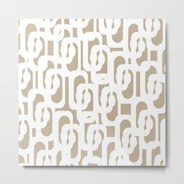 Mid Century Modern Loop Pattern in White and Flax Metal Print