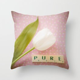 Pure - White Tulip with Scrabble Tiles Throw Pillow