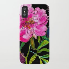 Black Peony iPhone Case