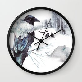 Cryptical Crows In The Whispering Winter Woods Wall Clock