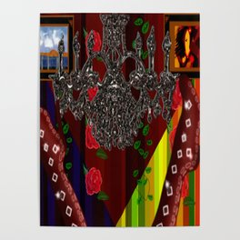 Red Boots in air by chandelier Poster