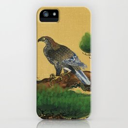Pine and Eagle, a traditional portrait of a charismatic Japanese eagle by Kano Tanyu (1602-1674). iPhone Case
