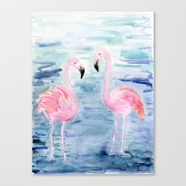 flamingo loves Canvas Print