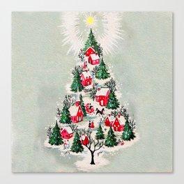 Vintage Christmas Tree Village Canvas Print
