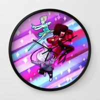 steven universe Wall Clocks featuring Steven Universe Crystal Gems by prpldragon