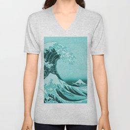 Aqua Blue Japanese Great Wave off Kanagawa by Hokusai Unisex V-Neck