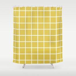 GRID DESIGN (WHITE-GOLD) Shower Curtain