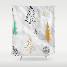 Gold, Black, and Green Christmas Pattern Shower Curtain