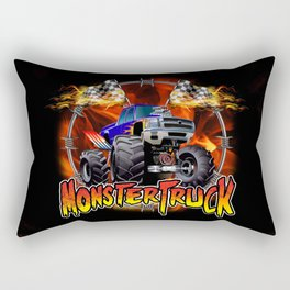 Monster Truck blue on Fire                                          Rectangular Pillow