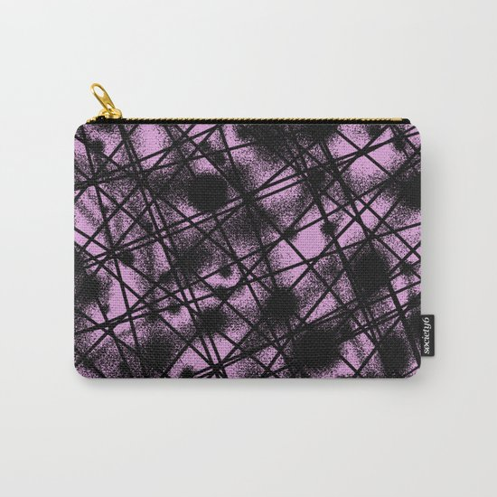 Web Of Lies - Black and pink conceptual, abstract, minimalistic artwork Carry-All Pouch