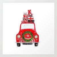 craftberrybush Art Prints featuring Red Christmas Car - white  by craftberrybush