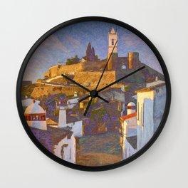 Monsaraz at dawn Wall Clock