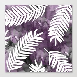 White Palm Leaves     Black And Purple Wash Background Canvas Print